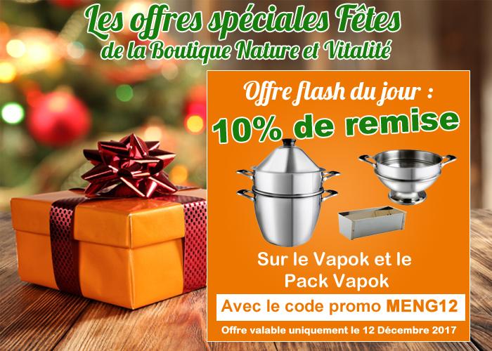 Offre pour les fêtes : 10 % de remise sur le cuit vapeur Vapok