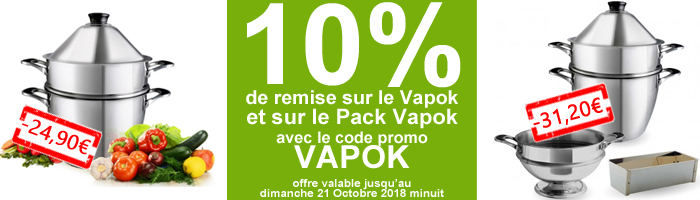 promotion sur le cuit vapeur Vapok